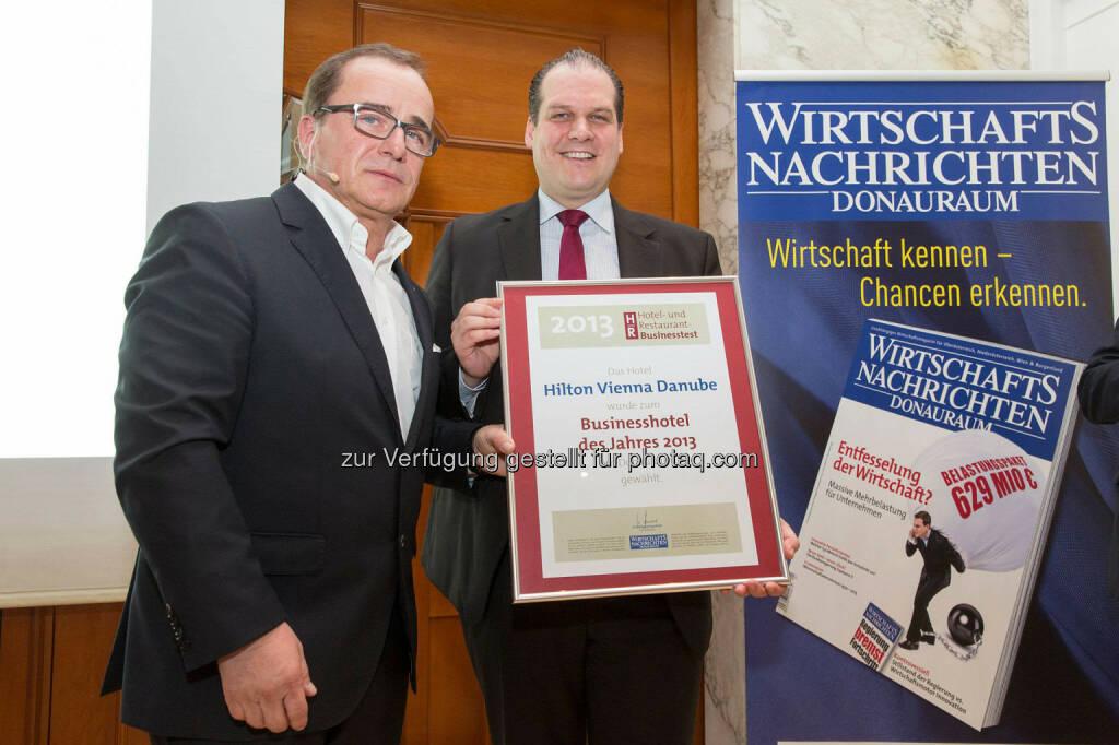 Markus Hussler, General Manager Hilton Waterfront, Herausgeber Wolfgang Hasenhütl , © Hilton Vienna Danube Waterfront (12.03.2014)