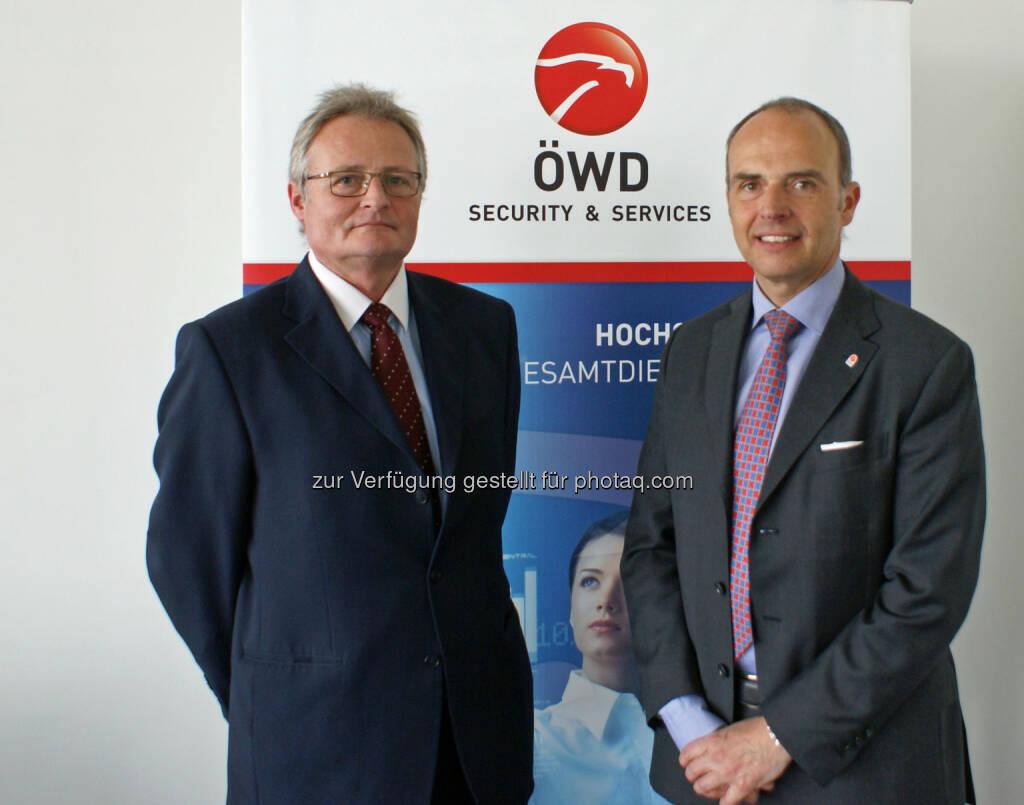 Wolfgang Eckhardt (Leiter Notruf ServiceCenter) und Hans-Georg Chwoyka (Eigentümer und Geschäftsführer ÖWD Security & Services)                 , © ÖWD (13.03.2014)