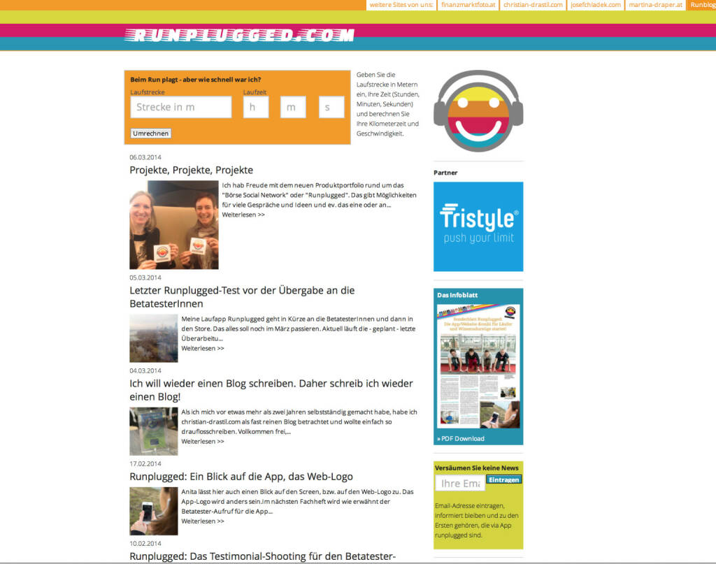 www.runplugged.com nun mit Tristyle-Präsenz (13.03.2014)