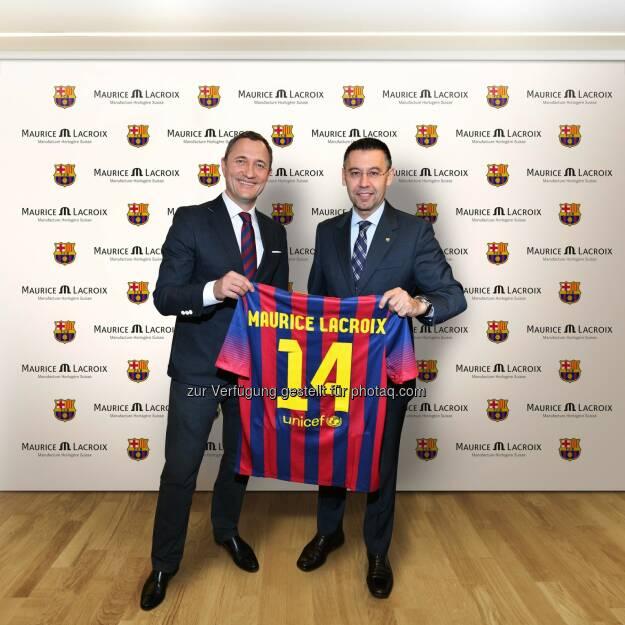 Die Schweizer Uhrenmanufaktur Maurice Lacroix und der Fussballclub FC Barcelona kündigen eine dreijährige Partnerschaft an., © Aussendung (14.03.2014)