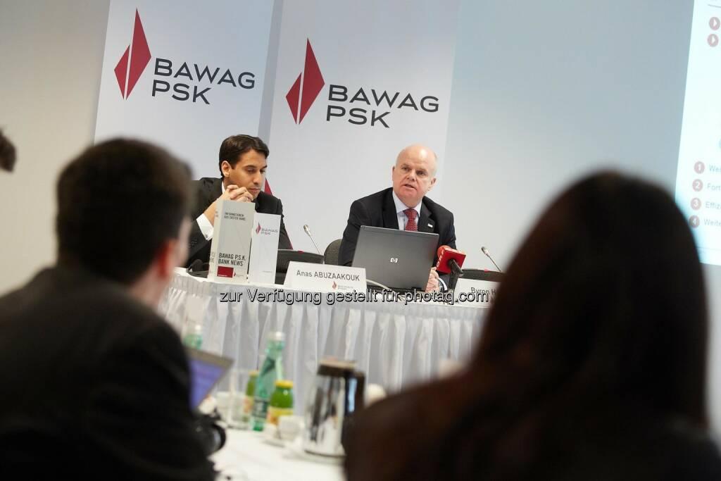 Anas Abuzaakouk, CFO Bawag PSK und Byron Haynes, CEO Bawag PSK, ©  Bawag PSK/APA-Fotoservice/Preiss (14.03.2014)