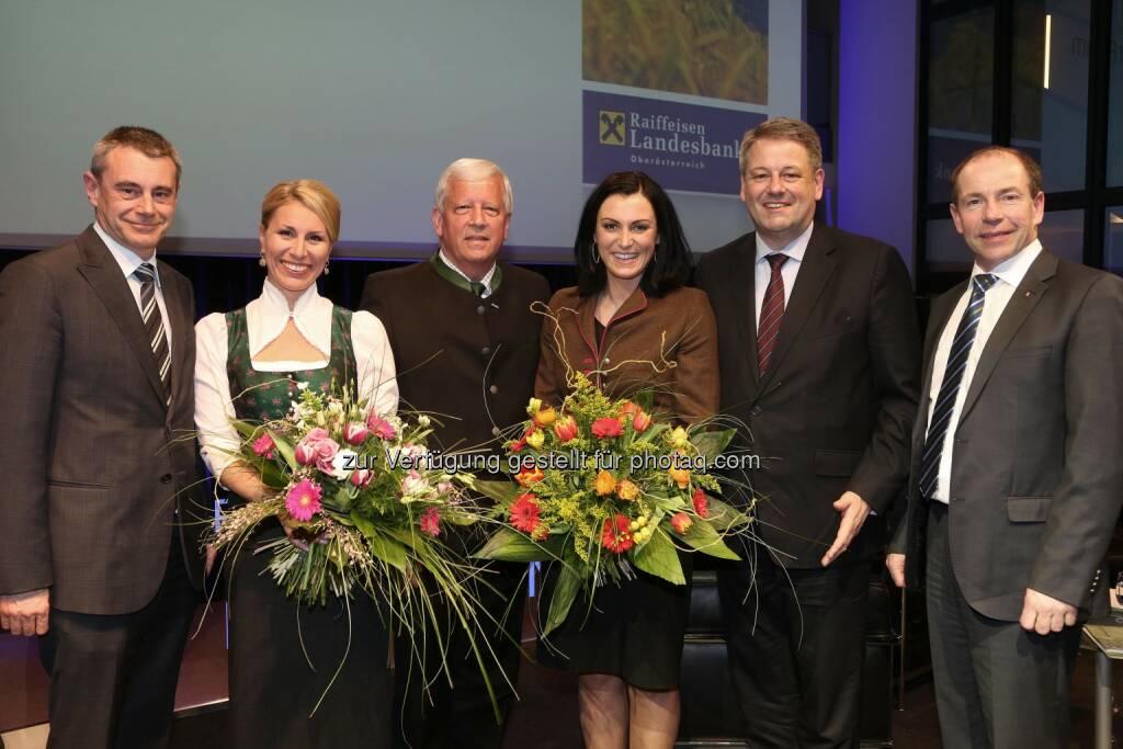 Heinrich Schaller (RLB OÖ), Moderatorin Monika Mitter, Jakob Auer, Elisabeth Köstinger, Andrä Rupprechter, Max Hiegelsberger (Agrarlandesrat) (Bild: RLB OÖ / Strobl) (14.03.2014)