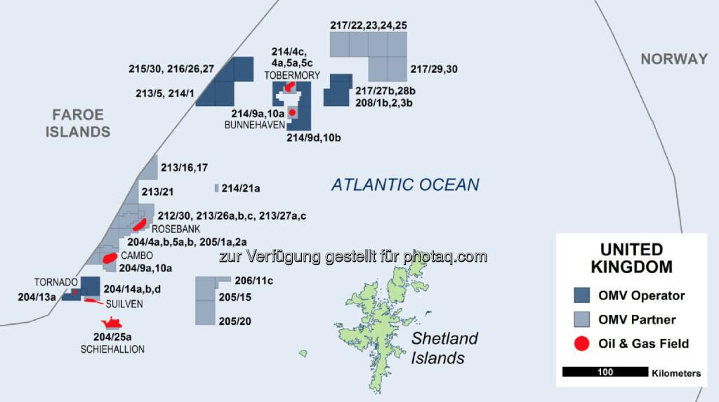OMV baut die Position in ihrem Kerngebiet in Großbritannien aus. Mit Hess wurde eine Vereinbarung über den Erwerb von vier Lizenzen im Gebiet westlich der Shetlandinseln (WoS), Großbritannien, abgeschlossen. Diese umfasst sowohl das Feld Cambo als auch das Blackrock Explorationsgebiet (c) OMV (19.03.2014)