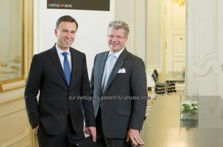 Christian Jauk, Vorstandsvorsitzender der Capital Bank, Constantin Veyder-Malberg, Mitglied des Vorstandes: Die Capital Bank - Grawe Gruppe AG, die Privat- und Investmentbank der Grawe Bankengruppe, steigerte im Geschäftsjahr 2013 erneut die Ergebnisse und baute erfolgreich den Marktanteil in Österreich aus. (c) Capital Bank