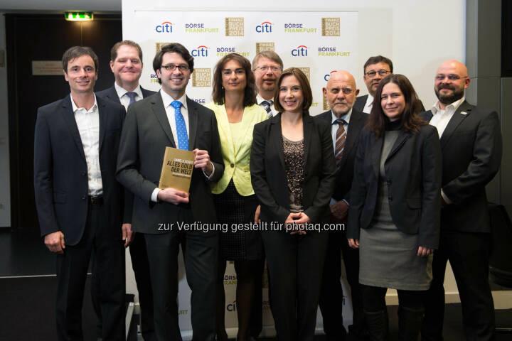 u.a. Robert Abend, Dirk Heß, Florian Röbbeling, Daniel D. Eckert - Frankfurt, GER - March 26, Deutscher Finanzbuchpreis 2014, Alte Börse