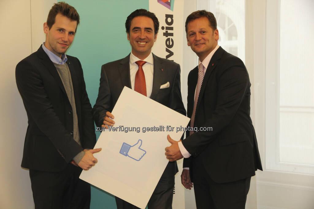 Florian Matscheko, Social Media Experte Werner Panhauser, Vorstand Marketing/Vertrieb Mag. Thomas Neusiedler, Vorstand Schaden-Unfall alle Helvetia Versicherungen AG (v.l.n.r.) (15.12.2012)
