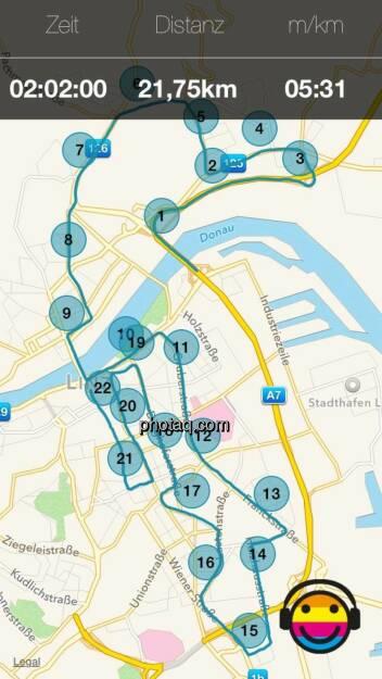 Map der Strecke, © Martina Draper (06.04.2014)