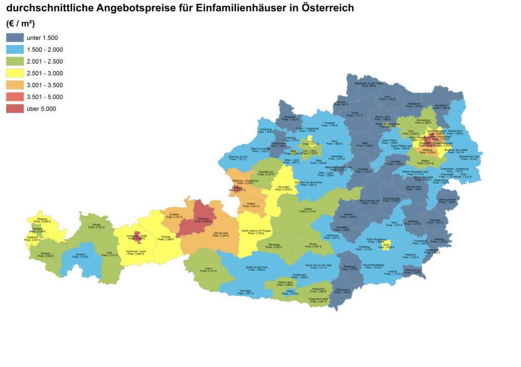 Durchschnittliche Angebotspreise für Einfamilienhäuser in Österreich, Quelle: ImmobilienScout24 und Immobilienring IR (07.04.2014)