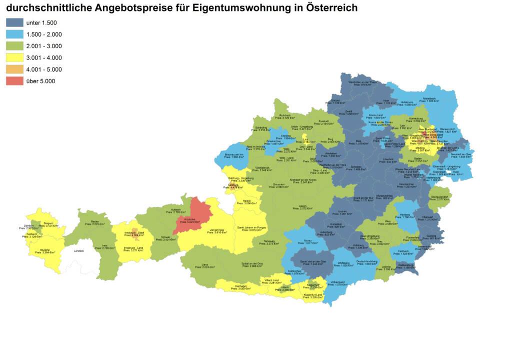 Durchschnittliche Angebotspreise für Eigentumswohnungen in Österreich, Quelle: ImmobilienScout24 und Immobilienring IR (07.04.2014)