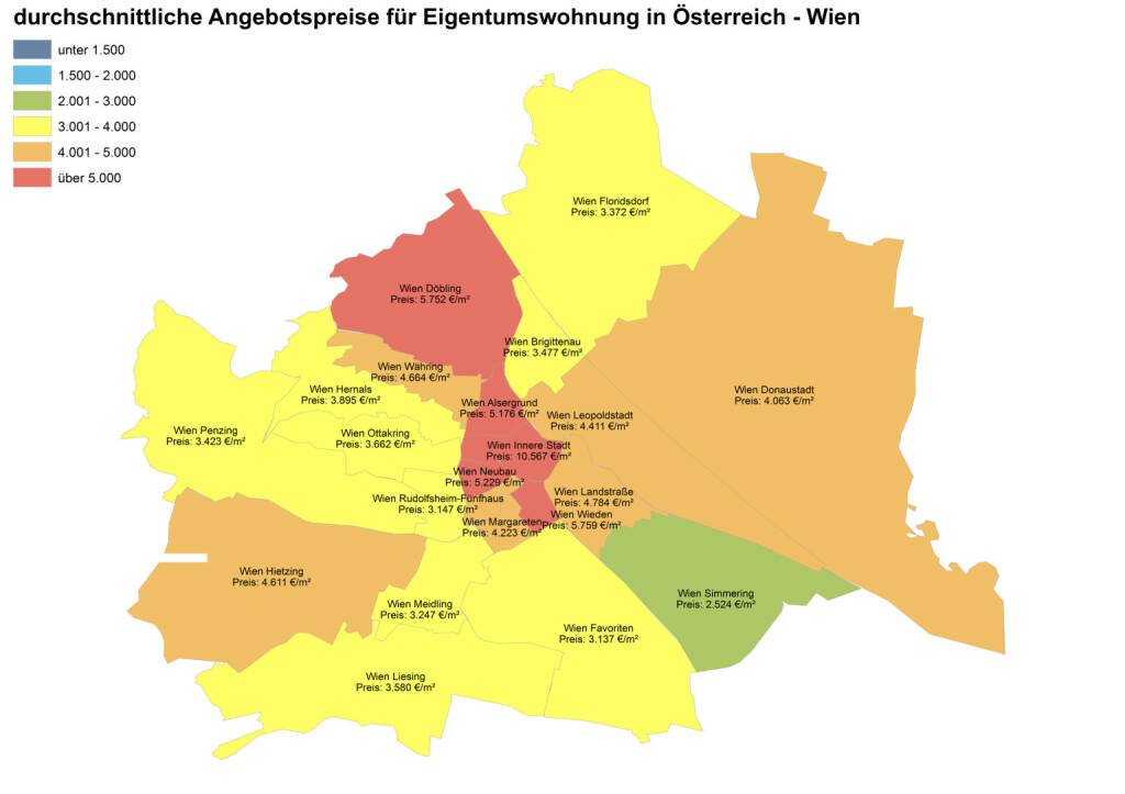Durchschnittliche Angebotspreise für Eigentumswohnungen in Österreich - Wien, Quelle: ImmobilienScout24 und Immobilienring IR (07.04.2014)