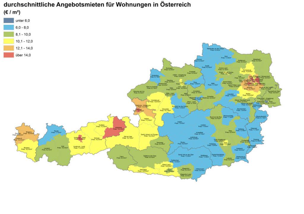 Durchschnittliche Angebotsmieten für Wohnungen in Österreich, Quelle: ImmobilienScout24 und Immobilienring IR (07.04.2014)