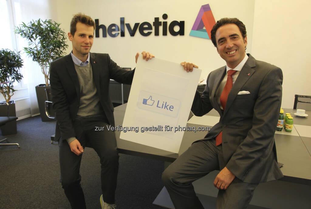Florian Matscheko, Social Media Experte, Werner Panhauser, Vorstand Vertrieb/Marketing Helvetia Versicherungen AG (v.l.n.r.) (15.12.2012)