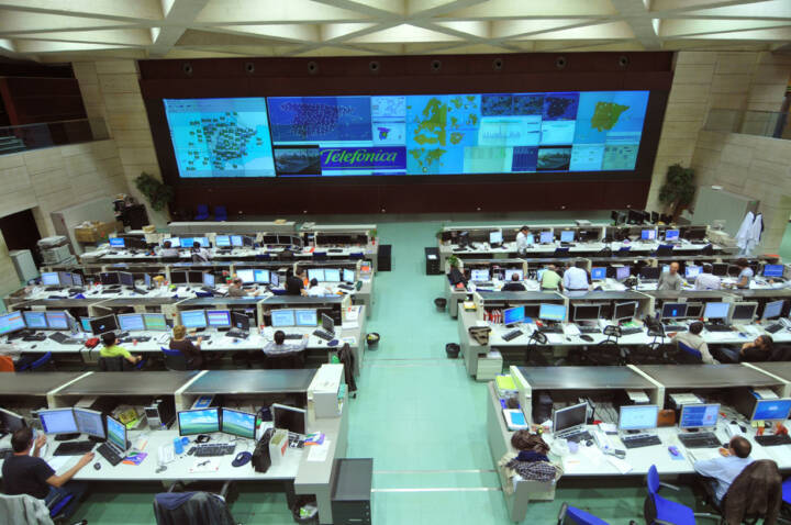 The CNSO (National Centre for Supervision and Operations) control room, Telefonica