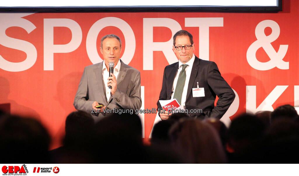 Geschaeftsfuehrer Anton Schutti (Sporthilfe) und Geschaeftsfuehrer Hans-Willy Brockes (ESB Europaeischen Sponsoring-Boerse). (Foto: GEPA pictures/ Christopher Kelemen) (10.04.2014)