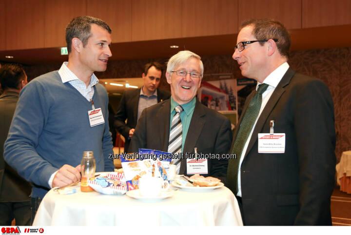 Horst Nussbaumes, Manfred Dimmy und Geschaeftsfuehrer Hans-Willy Brockes (ESB Europaeischen Sponsoring-Boerse). (Foto: GEPA pictures/ Christopher Kelemen)