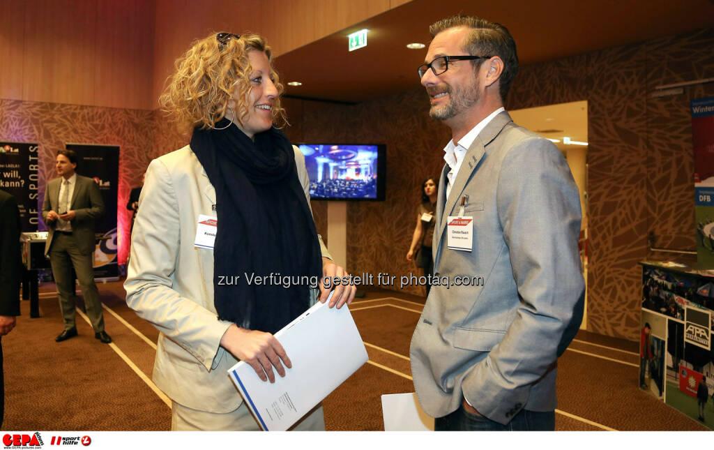 Konstanze Theimer und Christian Rausch (Hutchison Drei Austria). (Foto: GEPA pictures/ Christopher Kelemen) (10.04.2014)