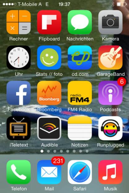 iPhone Startscreen eines finanzmarktfoto-Mitarbeiters, April 2014 (11.04.2014)