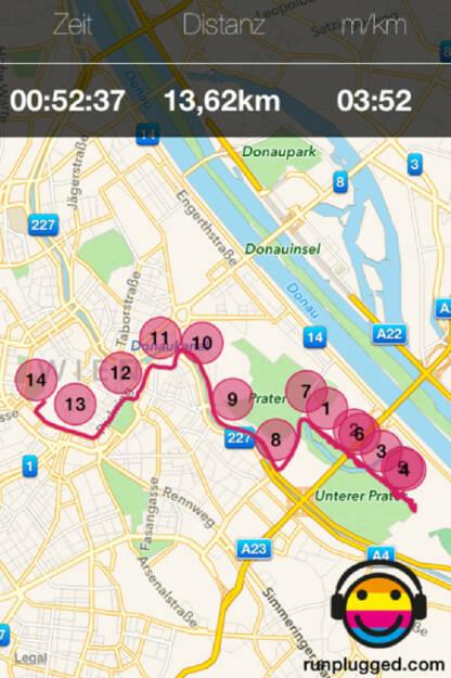 Die Beta-Version der Runplugged-App war mitsamt Handy im Spibelt-verpackt. 30 Sekunden langsamer passt wegen entpacking. Nicht gepasst hat, dass aus den 11,295 km gleich 13,620 km wurden. Schnitt daher bei zu schnellen 3:52 (13.04.2014)
