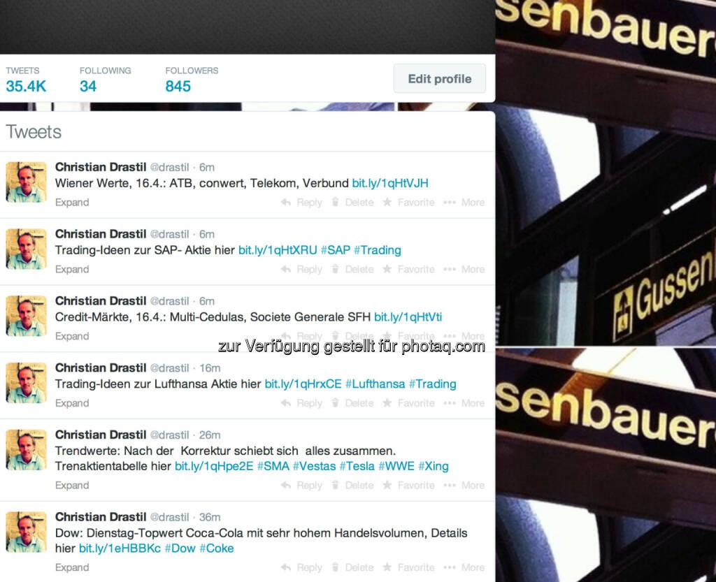 In eigener Sache: http://twitter.com/drastil mit Tweets aus dem Börse Social Network, Grafiken hinterlegt (16.04.2014)