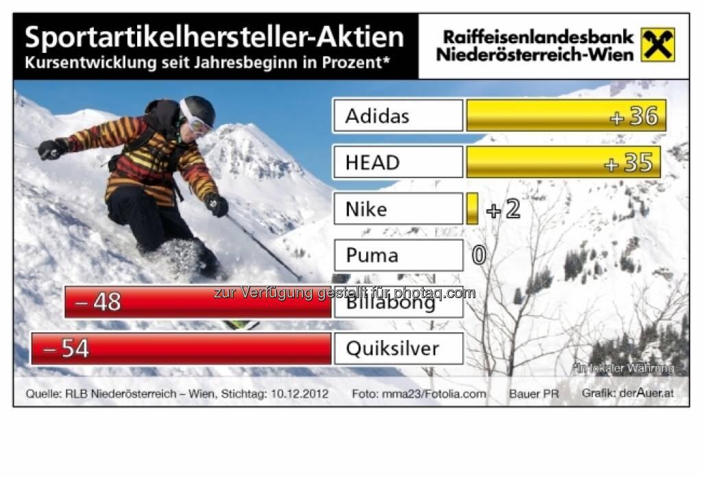 Sportartikel-Aktien - Kursentwicklung 2012 (c) derAuer Grafik Buch Web (19.12.2012)