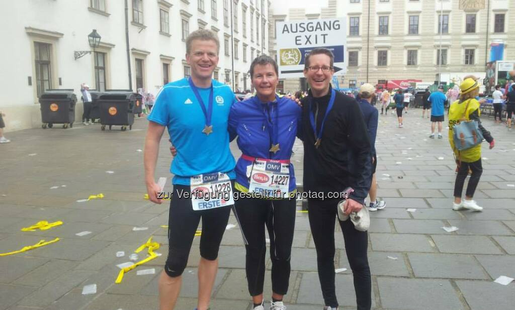 Semperit: We cross the finish line together - hand in hand with a smile - This was the motto of our colleauges and their customer running at the Vienna City Marathon.  Source: http://facebook.com/SemperitAGHolding (17.04.2014)