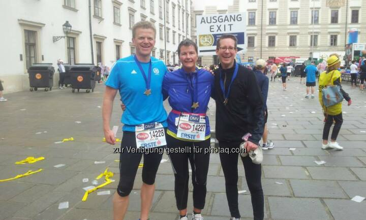 Semperit: We cross the finish line together - hand in hand with a smile - This was the motto of our colleauges and their customer running at the Vienna City Marathon.  Source: http://facebook.com/SemperitAGHolding