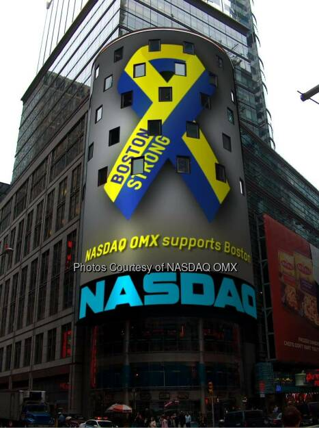 NASDAQ OMX remembers and supports Boston #BostonStrong  Before the U.S. markets opened, NASDAQ OMX paused for a moment of silence to reflect on the one year anniversary of the tragic events that transpired at the Boston Marathon. We will air the attached tribute on our NASDAQ MarketSite tower in Times Square throughout the day to express our continued support to the greater community of Boston so that all who pass by are reminded of a simple, yet powerful message that emerged from that day: BOSTON STRONG  Courtesy of: http://facebook.com/NASDAQ (17.04.2014)