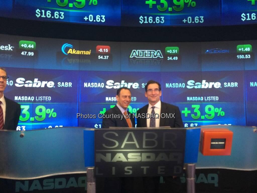 NASDAQ's CEO Bob Greifeld and @Sabre_Corp's @tomkleintk after the first trade Ceremony #SabreIPO $SABR  Source: http://facebook.com/NASDAQ (18.04.2014)