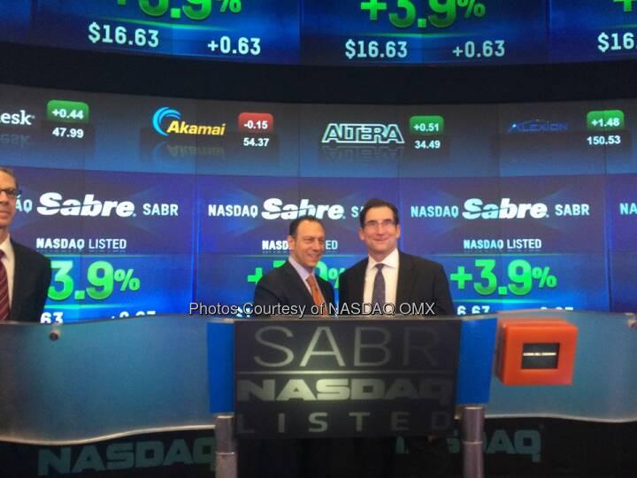 NASDAQ's CEO Bob Greifeld and @Sabre_Corp's @tomkleintk after the first trade Ceremony #SabreIPO $SABR  Source: http://facebook.com/NASDAQ