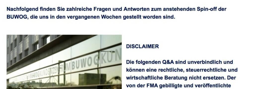 Q&A im Zusammenhang mit dem Spin-off der Buwog von der Immofinanz (18.04.2014)