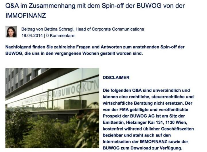 Q&A im Zusammenhang mit dem Spin-off der Buwog von der Immofinanz