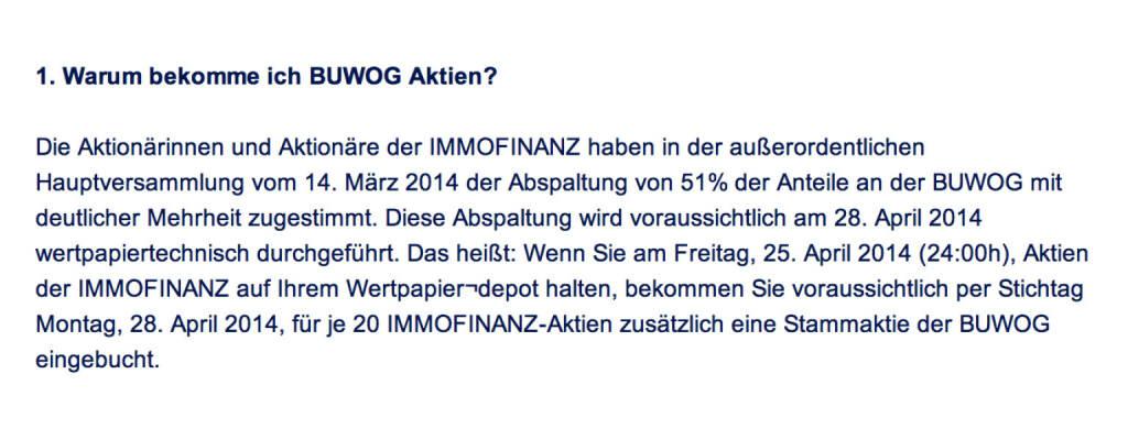 Frage an Immofinanz/Buwog: Warum bekomme ich Buwog Aktien? (18.04.2014)
