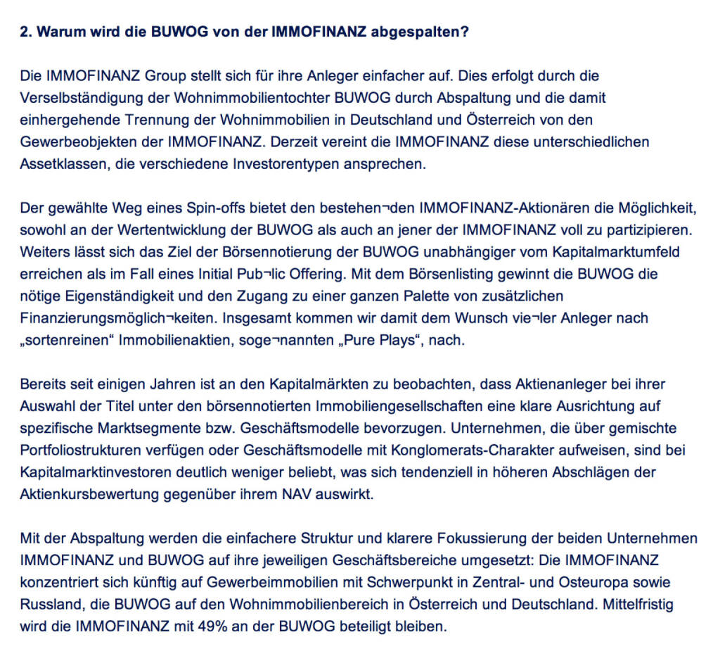 Frage an Immofinanz/Buwog: Warum wird die Buwog von der Immofinanz abgespalten? (18.04.2014)