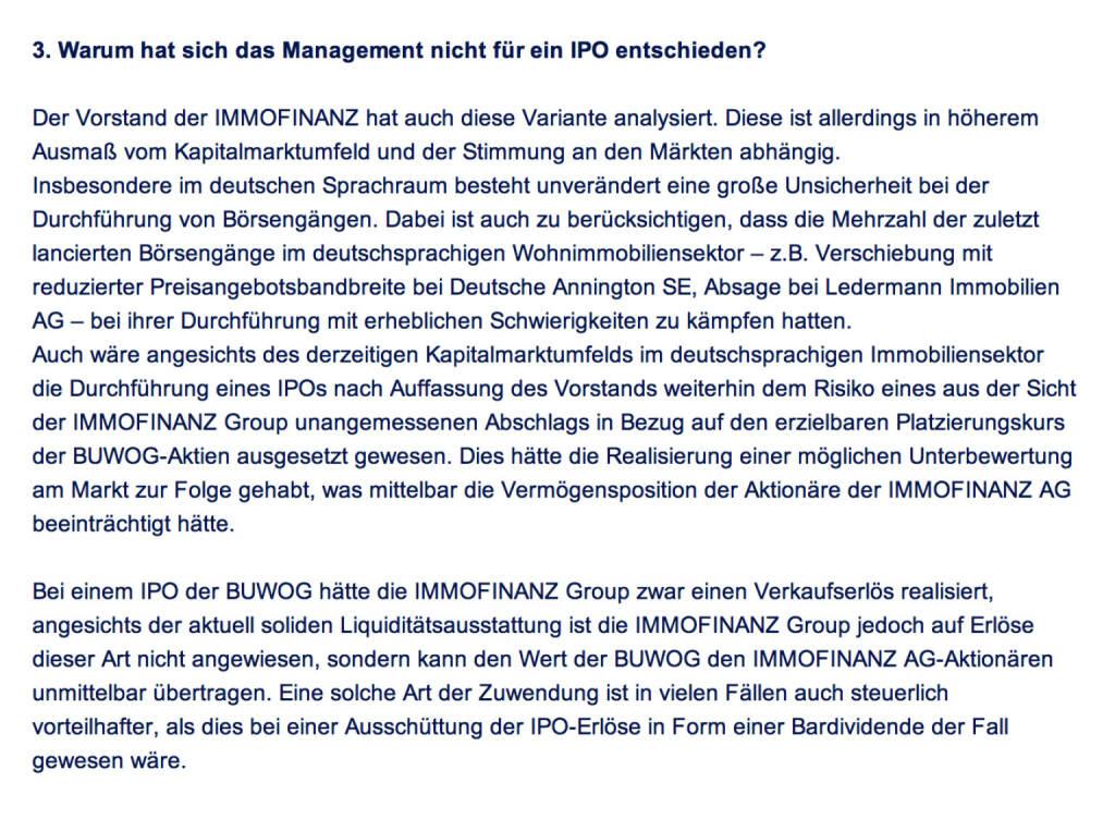 Frage an Immofinanz/Buwog: Warum hat sich das Management nicht für ein IPO entschieden? (18.04.2014)