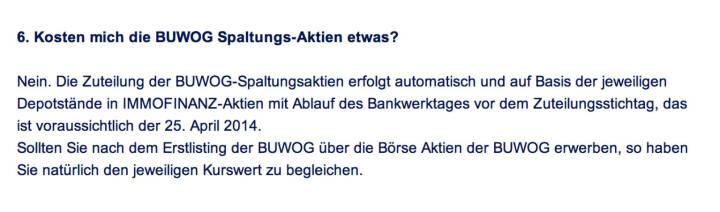 Frage an Immofinanz/Buwog: Kosten mich die Buwog Spaltungs-Aktien etwas?
