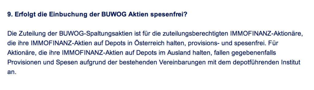 Frage an Immofinanz/Buwog: Erfolgt die Einbuchung der Buwog Aktien spesenfrei? (18.04.2014)