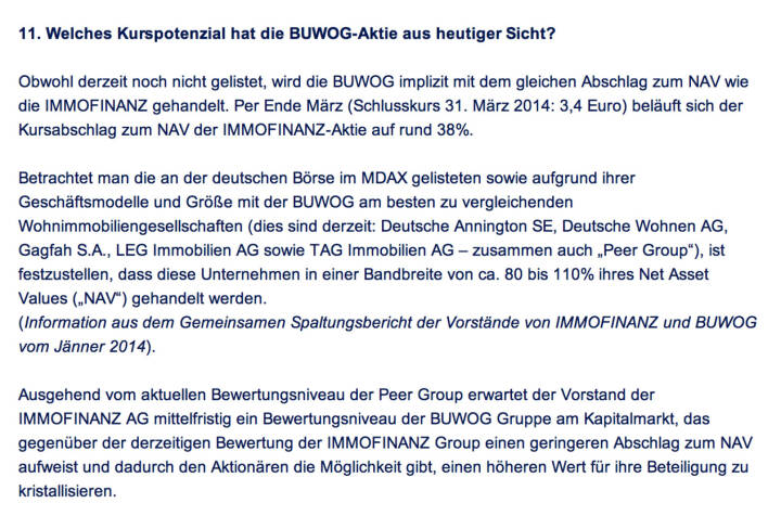 Frage an Immofinanz/Buwog: Welches Kurspotenzial hat die Buwog-Aktie aus heutiger Sicht?