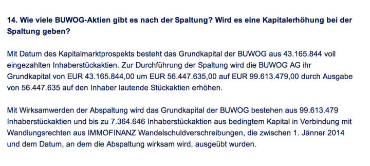 Frage an Immofinanz/Buwog: Wie viele Buwog-Aktien gibt es nach der Spaltung? Wird es eine Kapitalerhöhung bei der Spaltung geben?