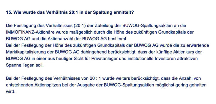 Frage an Immofinanz/Buwog: Wie wurde das Verhältnis 20:1 in der Spaltung ermittelt?