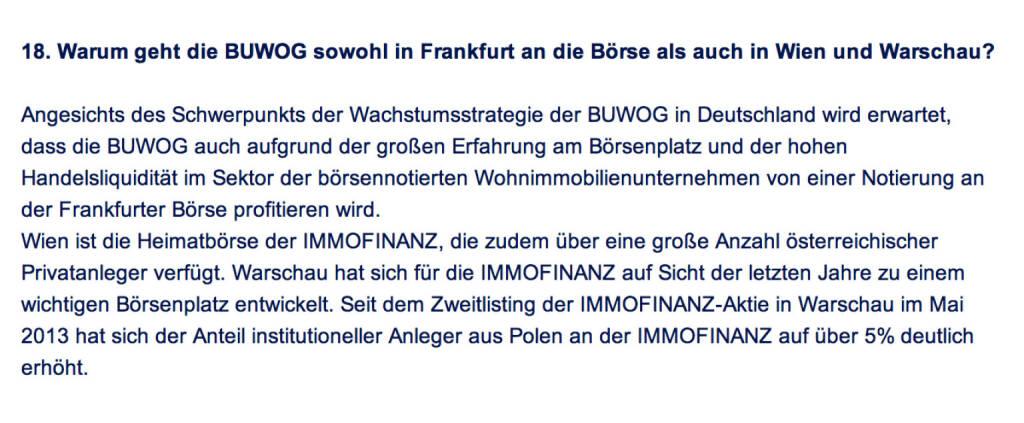 Frage an Immofinanz/Buwog: Warum geht die Buwog sowohl in Frankfurt an die Börse als auch in Wien und Warschau? (18.04.2014)