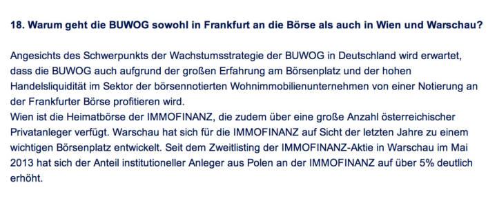 Frage an Immofinanz/Buwog: Warum geht die Buwog sowohl in Frankfurt an die Börse als auch in Wien und Warschau?