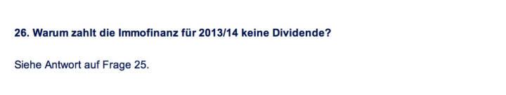 Frage an Immofinanz/Buwog: Warum zahlt die Immofinanz für 2013/14 keine Dividende?