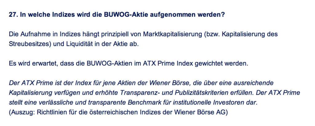 Frage an Immofinanz/Buwog: In welche Indizes wird die Buwog-Aktie aufgenommen werden?  (18.04.2014)