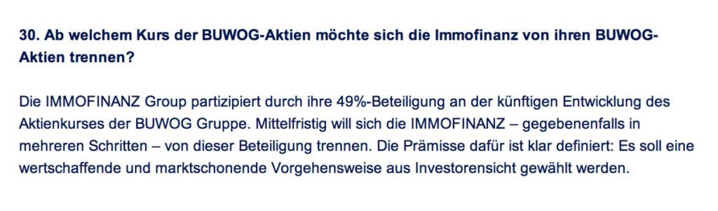 Frage an Immofinanz/Buwog: Ab welchem Kurs der Buwog-Aktien möchte sich die Immofinanz von ihren Buwog-Aktien trennen? (18.04.2014)