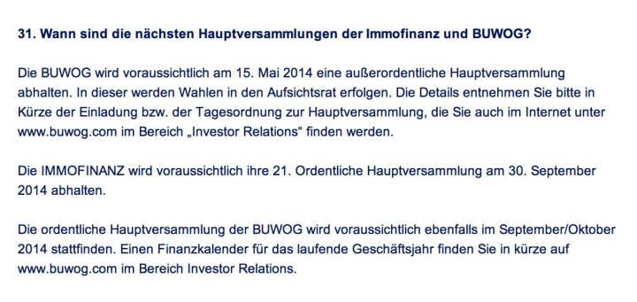 Frage an Immofinanz/Buwog: Wann sind die nächsten Hauptversammlungen der Immofinanz und Buwog?