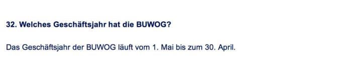 Frage an Immofinanz/Buwog: Welches Geschäftsjahr hat die Buwog?
