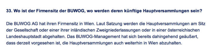 Frage an Immofinanz/Buwog: Wo ist der Firmensitz der Buwog, wo werden deren künftige Hauptversammlungen sein?