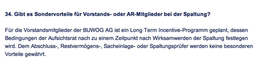 Frage an Immofinanz/Buwog: Gibt es Sondervorteile für Vorstands- oder AR-Mitglieder bei der Spaltung? (18.04.2014)