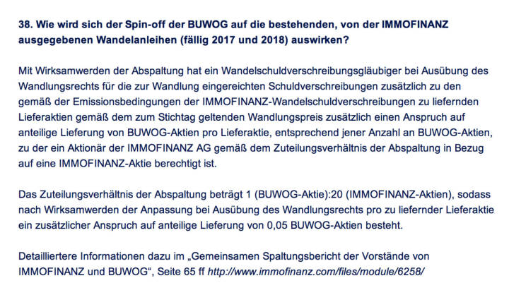 Frage an Immofinanz/Buwog: Wie wird sich der Spin-off der Buwog auf die bestehenden, von der Immofinanz ausgegebenen Wandelanleihen (fällig 2017 und 2018) auswirken?