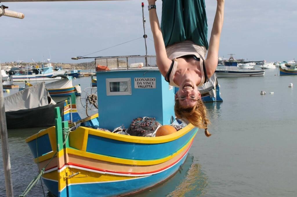 Hängen, lachen, verkehrt, Leonardo da Vinci Boot, einfach Urlaub (mit freundlicher Genehmigung von Monika Kletzmayr) (20.04.2014)